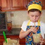boy drinking breakfast smoothie