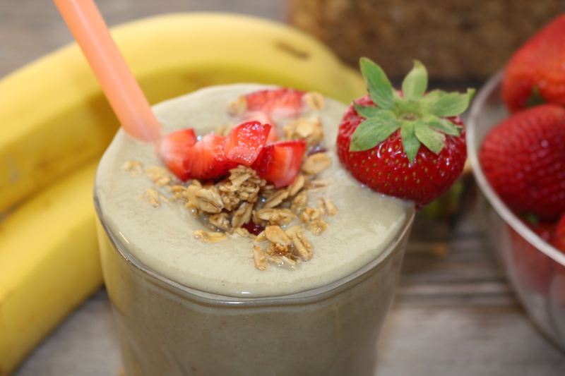 breakfast smoothie with strawberries