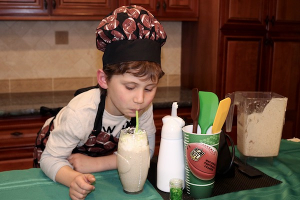 powerhouse-protein smoothie with boy drinking