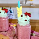 easter berry smoothie for easter with bunny peeps