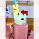 easter berry smoothie with bunny peeps