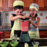 kids laughing making watermelon slushie bowls