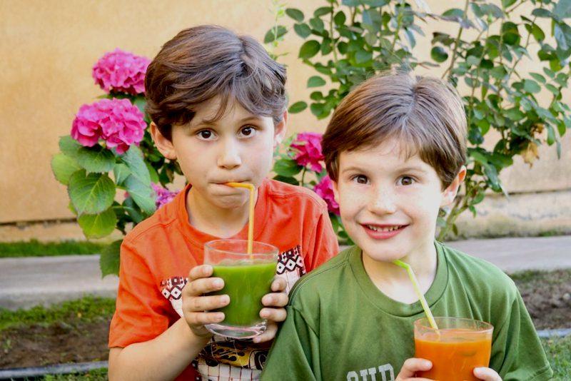 kids drinking fresh healthy juice