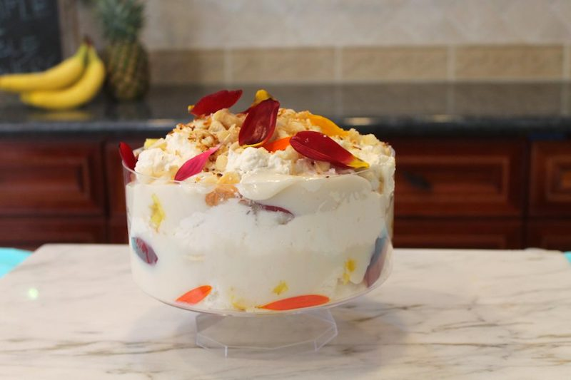 hawaiian trifle with edible flowers