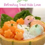 cantaloupe treat bowls with fruit cottage cheese and sherbert ice cream