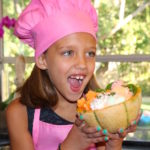 cantaloupe treat bowl girl holding bowl