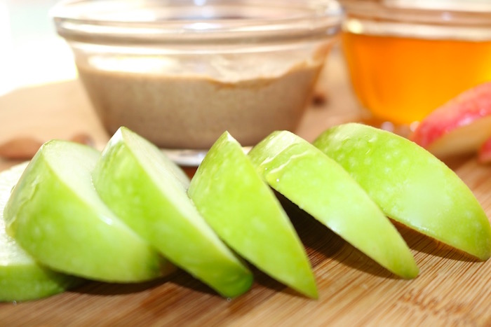apple almond butter snack green apples