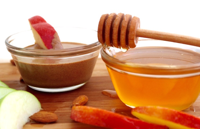 apple almond butter snack with honey