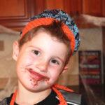 halloween candy bark with boy