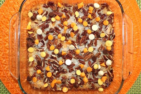 halloween chocolate chips in baking dish