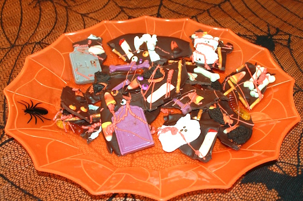 halloween graveyard candy bark in pieces