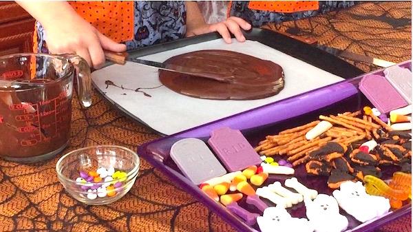 making halloween candy bark