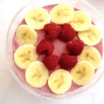 raspberry smoothie bowl with bananas raspberries
