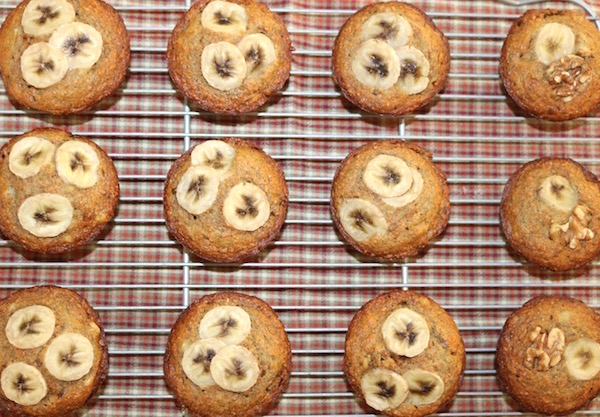 banana date muffins baked