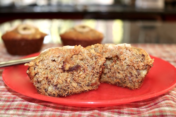 banana date muffins on plate