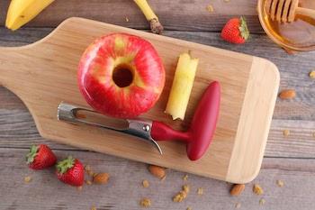 honeycrisp apple cored on cutting board