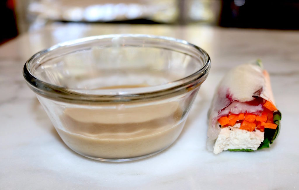 spring roll with tahini dip