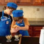boys making banana praline ice cream caramel