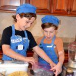 boys making banana praline ice cream pecans