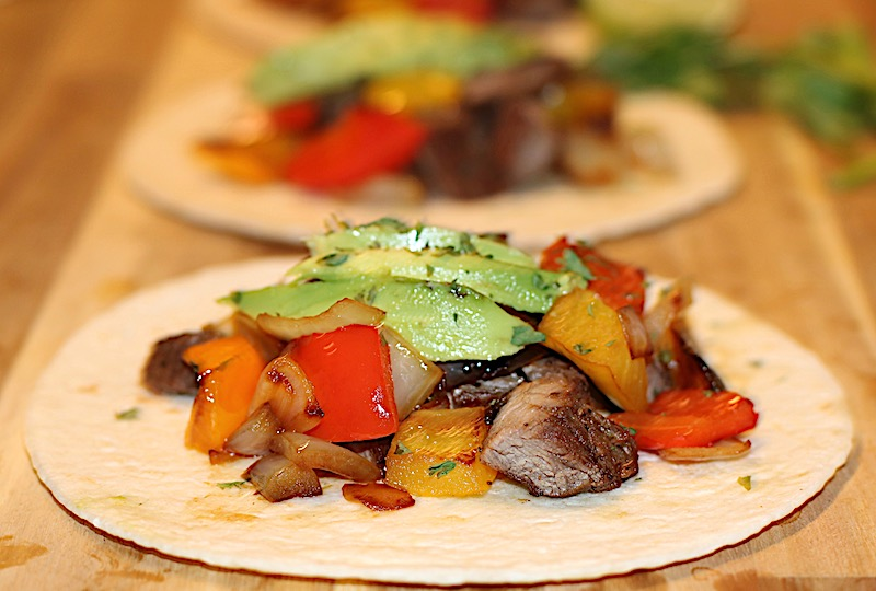 grilled steak fajitas with avocado