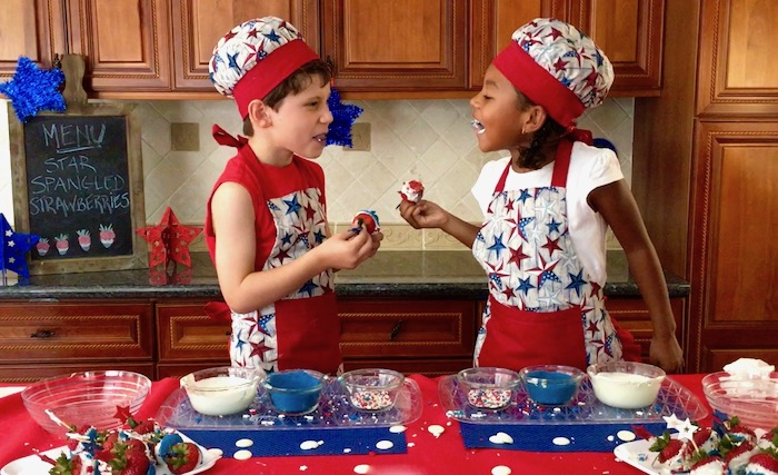 star spangled strawberries kids eating