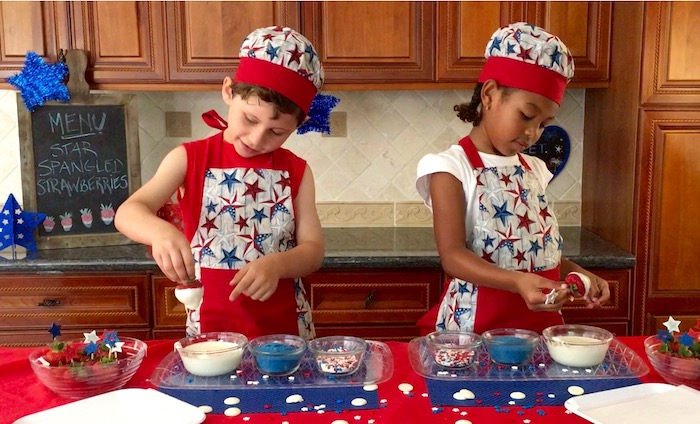 star spangled strawberries kids making