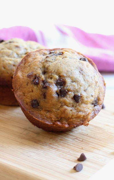 banana chocolate chip muffins with mini chips
