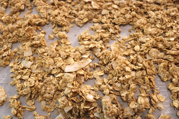 granola snack on baking tray