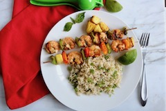 grilled shrimp skewers with rice