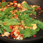 healthy tofu scramble with spinach