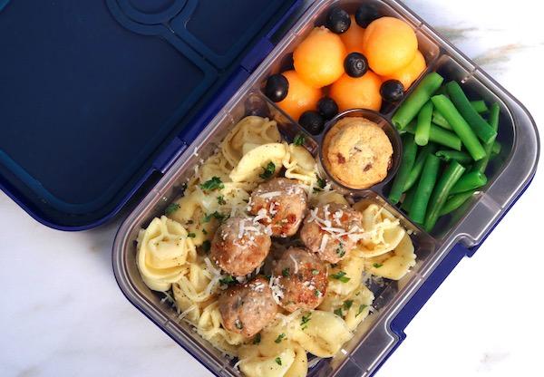easy turkey meatballs and tortellini lunch