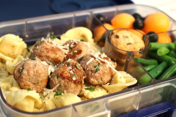 turkey meatballs and tortellini lunch