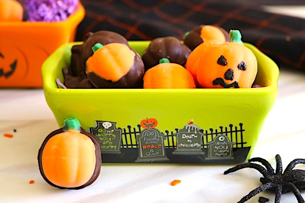 homemade halloween candy pumpkins in bowl