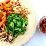saute veggies and bacon