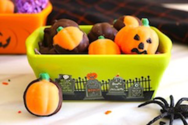 tn homemade halloween candy pumpkins in bowl