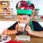 candy cane cocoa recipe with boy drinking