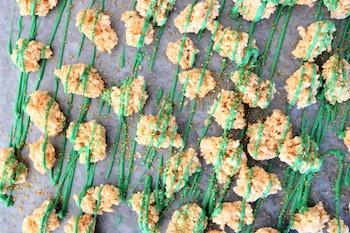 rice krispie treats on parchment-paper