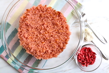 strawberry cake baked crumbled in bowl