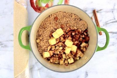 apple hand pies ingredients in pot