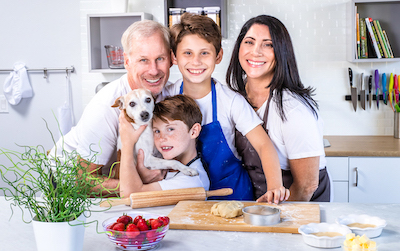 family photo with dog in kitchen
