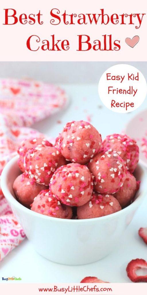 best strawberry cake balls pin
