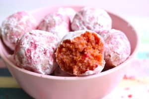 tn strawberry cake balls in pink bowl