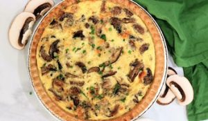 tn cheese and mushroom quiche baked
