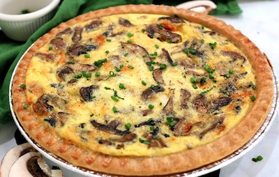 whole cheese and mushroom quiche