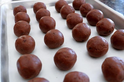 chocolate snowball cookies rolled in balls
