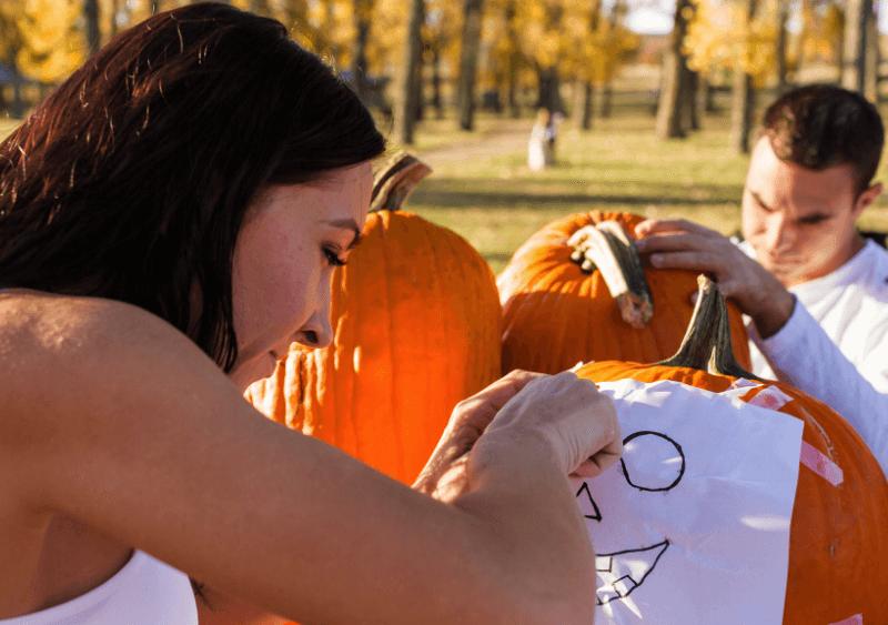 pumpkin carving applying pattern
