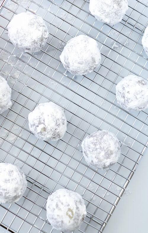 snowball cookie on rack